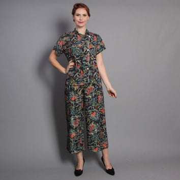 40s Novelty Print PAJAMAS / PANTS & Top / Asian Motif, xs