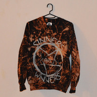 Cosmic Bleached Pentagram Hipster Sinners Are Winners Indie Satanic Inverted Cross Hype Swag Unisex Sweater Men Jumper Different Alternative