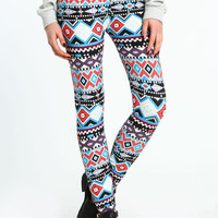 COLORFUL TRIBAL PRINT PEACH SKIN LEGGINGS