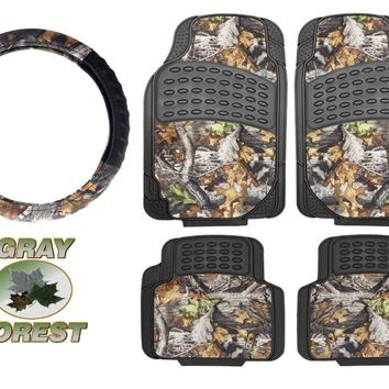 Surreal Camouflage 5 Piece Car Truck Floor Mat Set & Camo Steering Wheel - Universal All Weather Waterproof with Forest Pattern Black Color