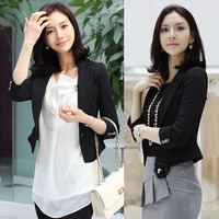 Black Lapel 3/4 Sleeve Womens Wear to Work Business Suit Blazer Top One Button