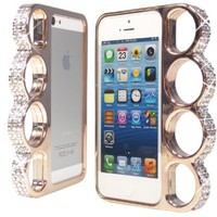 WwWSuppliers Bling Crystals Rhinestones Light Bronze/Champagne Knuckles Case for iPhone 5 5G Cover in Retail Package + Free Stylus & Screen Protector **SHIPS NEXT DAY FROM USA**