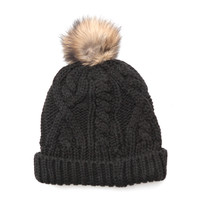 Knit Cap with Rabbit Pom-Pom