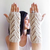 Beige Fingerless Gloves, Knitted Arm Warmers