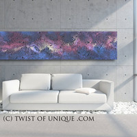 Industrial abstract painting - ORIGINAL AcryliCrete Painting, Over Sized abstract WAll art,- black, blue, purple, yellow, Galaxy, night sky