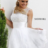 Short High Neck White Sherri Hill Dress