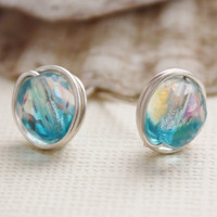 Earrings studs aqua / crystal Czech glass ab by collscreations