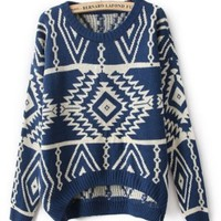 Hoodies, Sweatshirts Women , Girl: Fashion Geometry Design Printed Knitted Sweater Women's Loose Pullovers Casual Wear Plus : Blue