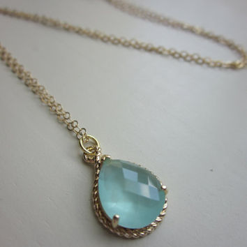 Pacific Aqua Blue Mint Pendant Necklace Gold Teardrop - 14k Gold Filled Chain - Bridesmaid Necklace - Bridesmaid Jewelry - Wedding Jewelry