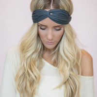 Gray Turban Headband, Thin Cute Hair Band for Women, Grey Running Headbands, Fashion Headband (HB-126)