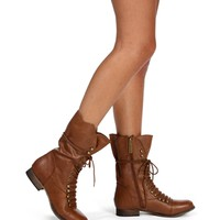 Tan Lace Up Scallop Combat Boots