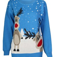 Forever Womens Rudolph Reindeer Print Snowflake Christmas Jumper (SM-6/8, Twin-Turquoise)