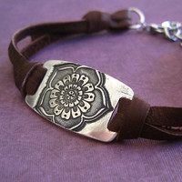 Fine Silver Leather Bracelet Flower Motif Handmade Leather Jewelry
