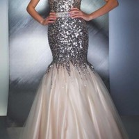Paillette lace Mermaid Prom dress Pageant Party Evening Dresses Size2 4 6 8 10++