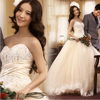 Discount White Lace Couture Sweetheart Modern Wedding Bridal Gowns SKU-118209