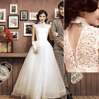 White Lace Cap Sleeve Vintage Cheongsam Style Wedding Bridal Dress Gown SKU-120113