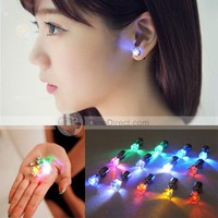 Chornai Light Up Led Bling Earrings Ear Studs Stainless Steel Earring Dance Party 2Pcs - DinoDirect.com