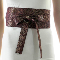 Deep Violet Sash Belt Obi Waist Cincher - Gold Brocade Sash Belt Obi Waist Cincher - Sashes for Weddings Evening Cocktail Formal Party