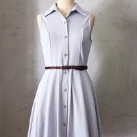 MONA GRAY - Soft dove gray collar shirt dress // pockets // full pleated skirt // button down // vintage inspired // day // retro // mod