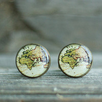 Ancient World Map Cuff Links, Map Cufflinks, Brass Cufflinks