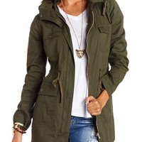 Long Hooded Anorak Jacket by Charlotte Russe - Olive