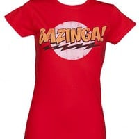 Red Ladies Big Bang Theory Bazinga T-Shirt : TruffleShuffle.com