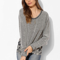 Staring At Stars Distressed Lace-Inset Pullover Sweatshirt - Urban Outfitters