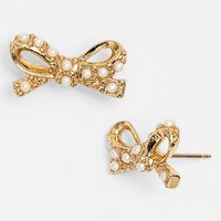 kate spade new york 'skinny mini' faux pearl bow stud earrings | Nordstrom