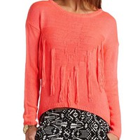 EAGLE FRINGE HI-LO SWEATER
