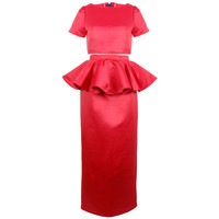 Red Satin Crop Top and Peplum Skirt Set - Limited Edition | Style Icon`s Closet