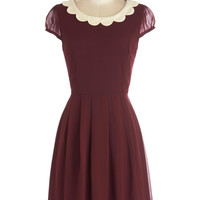 ModCloth Vintage Inspired Mid-length A-line Surprise Me Dress in Burgundy