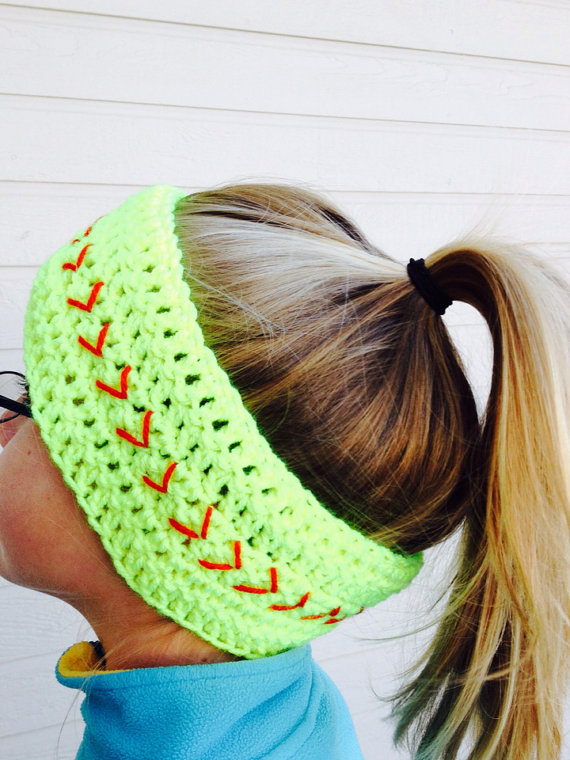 Free Crochet Pattern For Softball Headband : Softball Headwrap, Softball Headband, from SoftballStitch ...