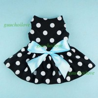 Cute Polka Dot Ribbon Dog Dress Dog Clothes Cozy Dog Shirt Pet Dress, Small