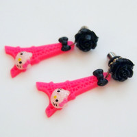 glamasaurus ♥Kawaii Cute Sweet Jewelry + Accessories ♥ — Kitty in Paris Dangle Plugs - Kawaii Kitsch