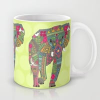 painted elephant chartreuse dot Mug by Sharon Turner
