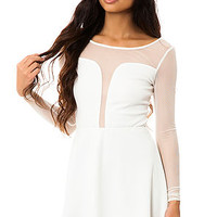 The Ponte Skater Dress with Mesh Illusion in White