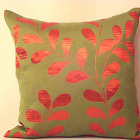 Fire red leaves – Olive green woodland 20x20 pillow cover