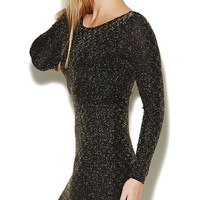 Textured Metallic Plunging Dress | Arden B.