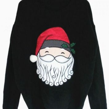 Black Santa Print Sweater