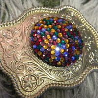 Vintage Rhinestone Earring Belt Buckle, Silver Western Engraved Belt Buckle, Vintage Rainbow Rhinestone Earring Belt Buckle