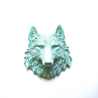 Faux Taxidermy Small Wolf Head Wall Hanging Wall Mount: Willa the Wolf in seabreeze blue