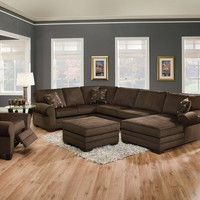 3 pc Tenner collection deluxe beluga fabric upholstered sectional sofa set with rounded arms and chaise lounge