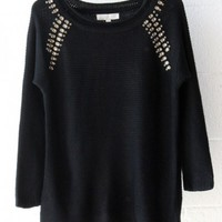 Rhinestone Knit Sweater-Black