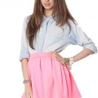 Letta Skirt in Neon Pink - ShopSosie.com