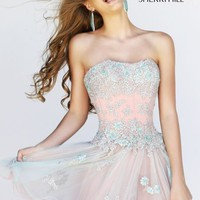 Strapless Embellished Dress by Sherri Hill