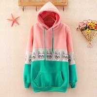 More cute cat pattern long sleeve hooded fleece
