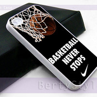 Iphone Case - Iphone 4 Case - Iphone 5 Case - Samsung s3 - samsung s4 - Nike Basketball Never Stop - Photo Print on Hard Plastic