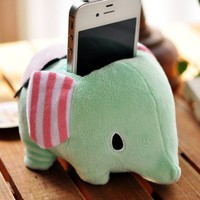 Elephant plush doll mobile phone holder (Green)