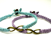 Infinity Bracelet Set, Light Purple and Light Blue Macrame Hemp Jewelry, Friendship Bracelets - Free North American Shipping
