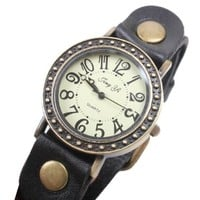 Amazon.com: Faux Antique Watch on Handmade Leather Band Bracelet: Jewelry